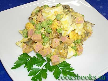 Салаты с горошком яйцом грибами
