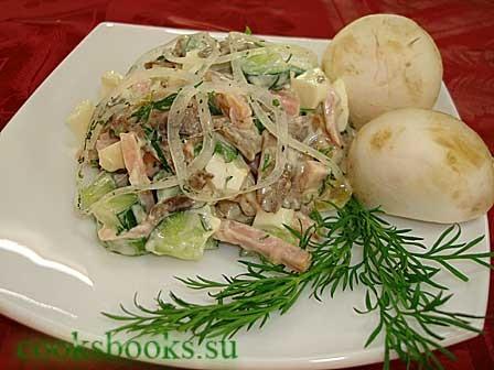 Салат из шампиньонов с ветчиной и огурцам