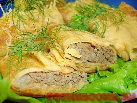 Блинчики с  печенью запечённые с сыром