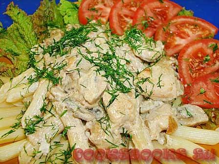 Филе  курицы с грибами в сливочно-горчичном соусе