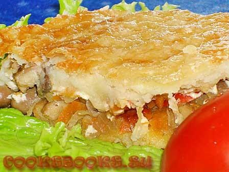 Картофельная запеканка с куриными сердцами, грибами и овощами