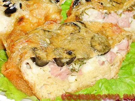 Закусочные кексы с ветчиной и маслинами